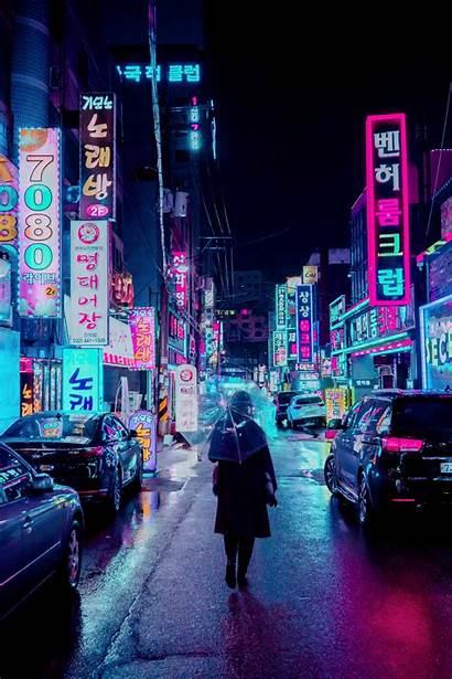 Night Street Neon Umbrella Background Signboards Lighting