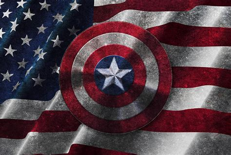 Disney Artwork For Sale by Captain America Shield On Usa Flag Painting By Georgeta