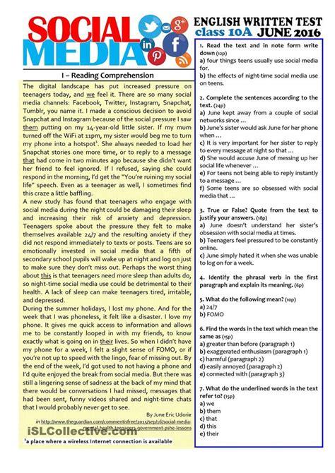 social media  grade test esl worksheets   day