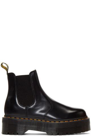 dr martens black  quad platform chelsea boots ssense