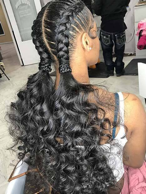 feed  braids hairstyle  high curly ponytail
