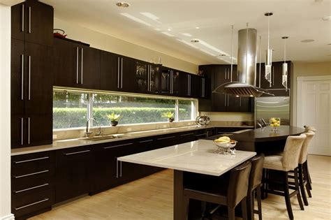 Modern Kitchen Bathroom Designs by New Open Kitchen With Large Prep Island And Builtin Table