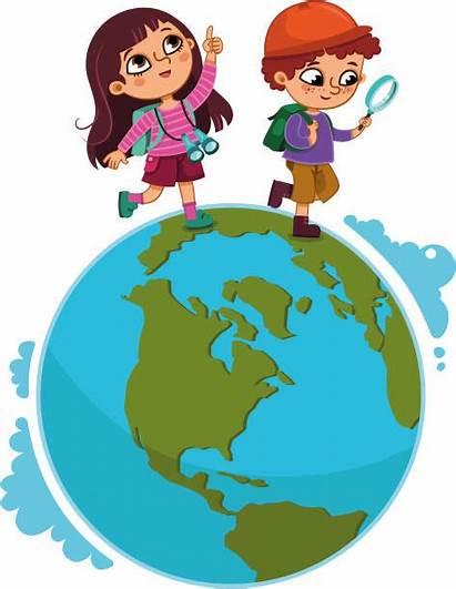 Explorer Children Walking Kid Vector Planet Clip