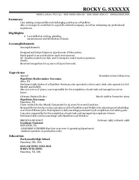 Journeyman Glazier Resume by Project Manager Supervisor Glazier Resume Exle South