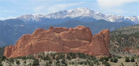 Garden Of The Gods, With Pikes Peak In The Background