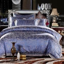 gold pink blue jacquard bedding set luxury 4pcs satin duvet comforter cover king queen
