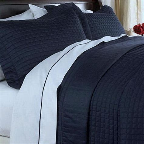 Navy Blue Coverlet by Hotel Modern Reversible Solid Navy Blue Quilt Coverlet Set