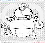 Robbing Cartoon Beaver Bank Outlined Coloring Clipart Vector Illustration Cory Thoman sketch template