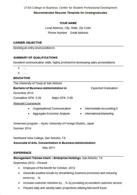 Student Resume Template by Resume Template Fee Schedule Template