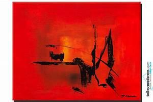 tableau rouge abstrait hiver au soleil deco couleur vive With couleur peinture pour salon moderne 14 tableau abstrait moderne rouge noir blanc