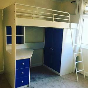 High Sleeper Bed With Desk And Wardrobe Assembly Worthing