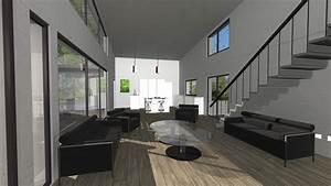 Maison contemporaine à toiture en zinc salon à double hauteur avec plafond rampant à côté de