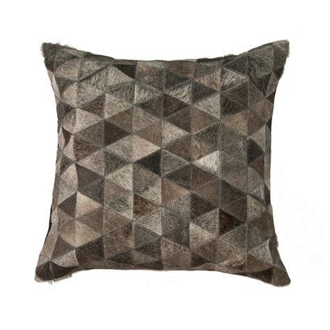 Torino Cowhide Pillow by Torino Classic Madrid Gray Cowhide Decorative Pillow