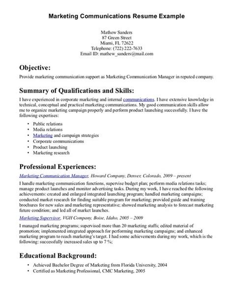 Marketing Skills Summary Resume by Communication Skills For Resume Http Jobresumesle