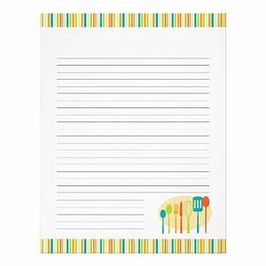 Retro Kitchen Cooking Utensils Recipe Pages Letterhead ...