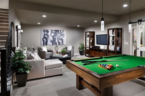 gray contemporary game room features  stained wood