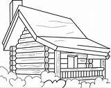 Cabin Coloring Log Pages Printable Colouring Drawing Simple Cottages Cabins Woods Wood Drawings Easy Sheets Logs Case Line Books Designs sketch template