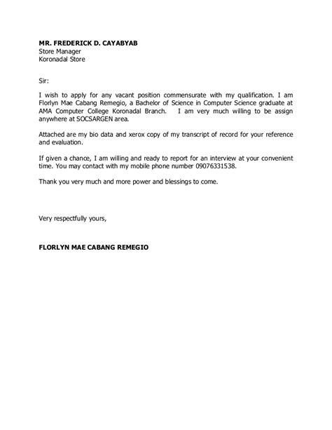 application letter sample tagalog version resume letter
