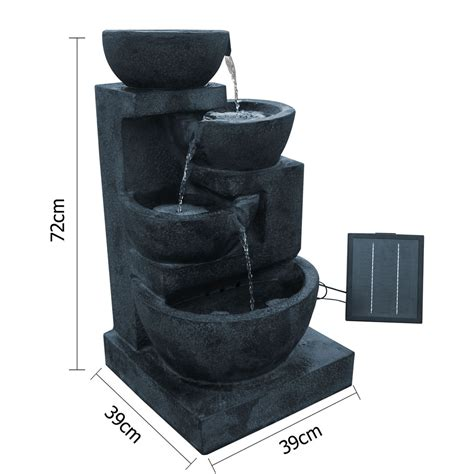 solar power water feature four tier w led light