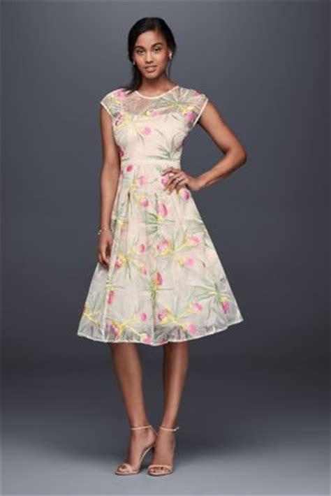 embroidered organza fit  flare midi dress davids bridal