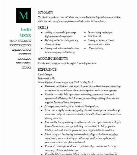 resume objective statement case manager case manager objectives resume objective livecareer