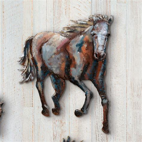 Our horse head metal wall art is made of flat bar iron, which is bent and welded together by hand to create this unique design. Running Horse 3-D Metal Wall Art I