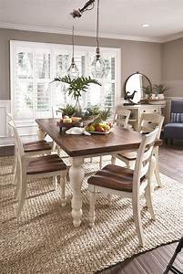 Country, Cottage-esque, White, And, Brown, Dining, Room, Table, On, A, Natural, Fiber, Rug