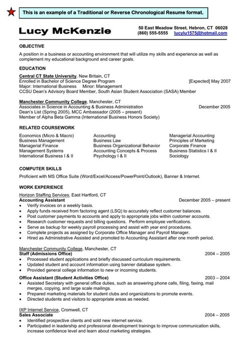 Chronological Resume Traditional Design by Traditional Chronological Resume Format