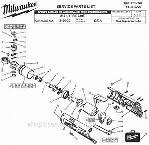 Milwaukee 2456-20 Parts List And Diagram