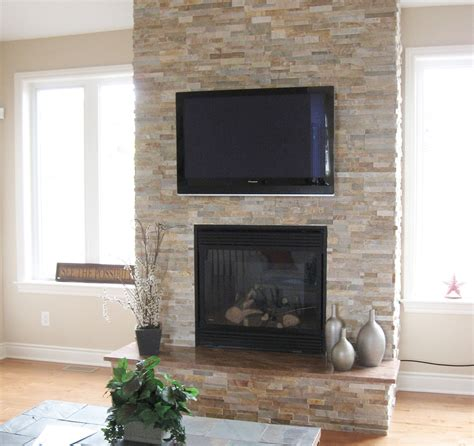 reface brick fireplace family room with cobble