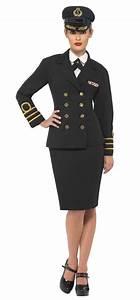 Womens Plus Size Black Navy Officer Sailor Fancy Dress Costume