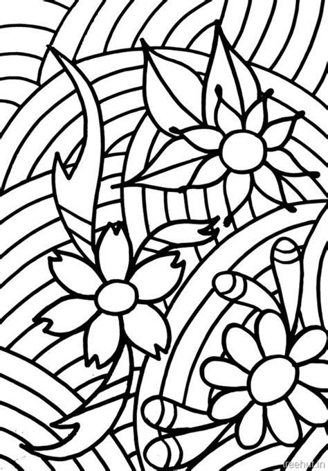 abstract flowers coloring pages  teenagers