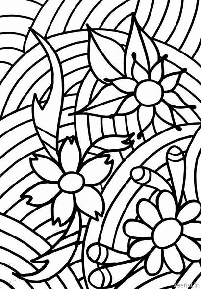 Coloring Abstract Pages Flowers Teenagers Treehut Easy