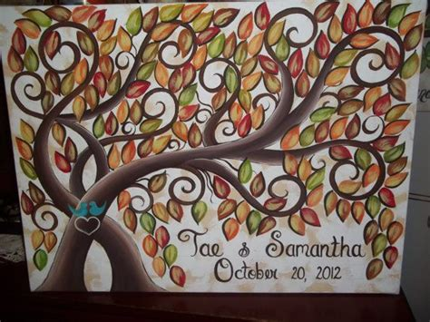 wedding guest book signature tree 100 painted fall leaves on 16 x 20 stretched canvas via