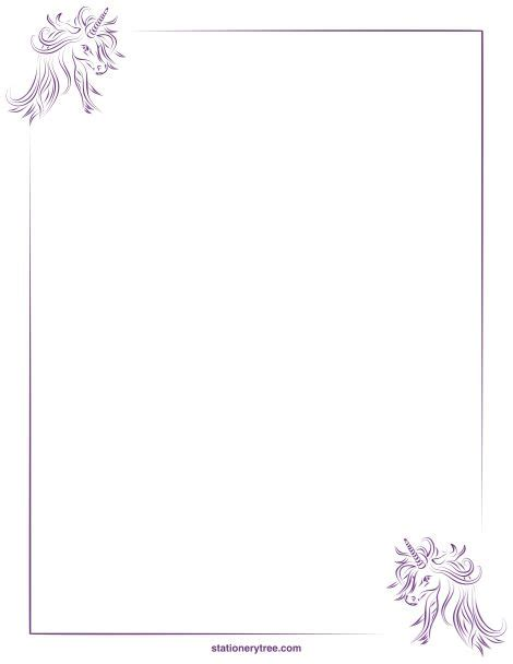 printable unicorn stationery  writing paper