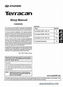 Hyundai Terracan Repair Manual Order  U0026 Download