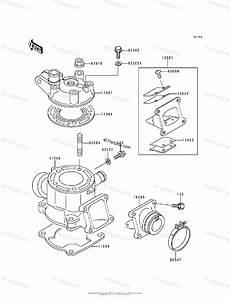 Kawasaki Motorcycle 1996 Oem Parts Diagram For Cylinder Head  U0026 Cylinder