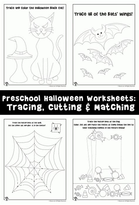preschool worksheets tracing cutting 190 | preschool worksheets for halloween