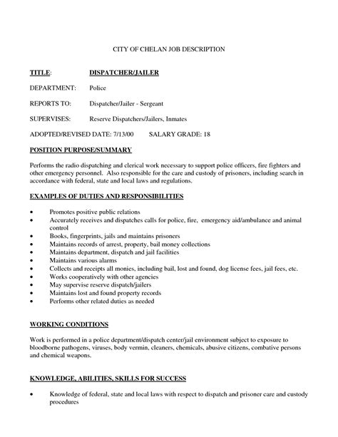 Dispatcher Duties For Resume by Alarm Dispatcher Resume