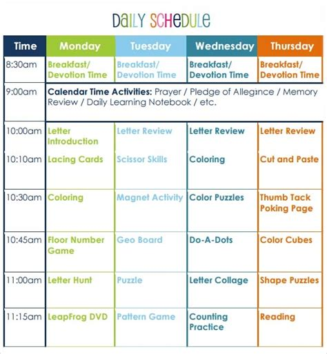 preschool lesson plan template 10 free 395 | Preschool Activities Lesson Plan Template