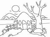 Scenery Coloring Drawing Hut Nature Outline Mountain Kid Village Drawings Sketch Simple Printable Sheets Adult Landscape Mud Google Cartoon Getdrawings sketch template