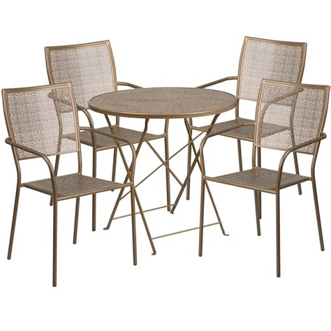 30 gold indoor outdoor steel folding patio table
