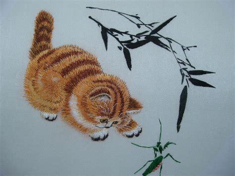 design sticken cat silk embroidery kit worksofhands berlin