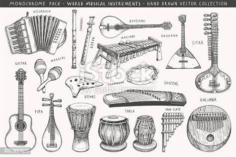 India has a rich musical history with records of ancient musical instruments found in revered hindu dumroo is probably the oldest and traditional form of percussion instrument in india. Hand Drawn World Musical Instruments Stock Vector Art ...