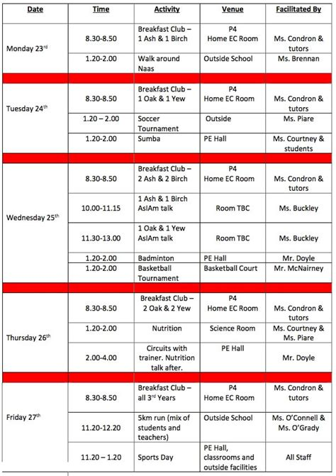 healthy living week timetable naas community college