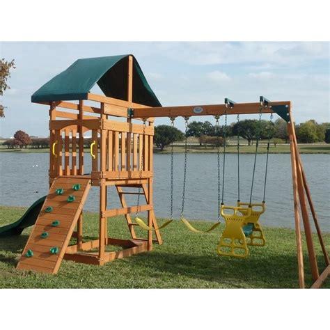 Kid Swing Set by Outdoor Swing Set Wood Canopy 2 Swings Glider Rock