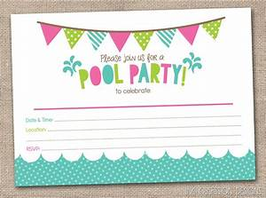Girls pool party printable invitation fill by inkobsessiondesigns invites blanks pinterest for Pool party invites templates