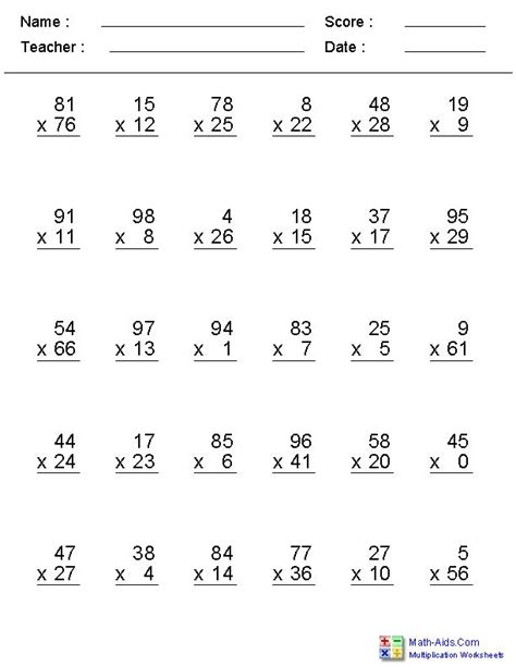 zero to 99 facts with multiplication worksheets clasa 5 math multiplication worksheets