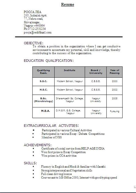 Microbiology Resume Format For Freshers by Sle Of Biodata Format