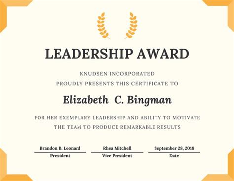 Tke Award Certifricate Template by Trophy Leadership Award Certificate Templates By Canva